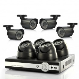 8 Camera Surveillance System - 4 Indoor CCTV Cameras, 4 Outdoor,