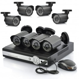 8 Camera DVR Surveillance System - 8 Outdoor CCTV Cameras, H264